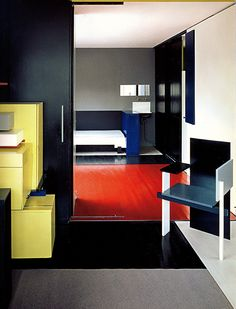 aqqindex:  Gerrit Reitveld Bauhaus Interior, Art Furniture, Furniture Design, Schroder House, Modern Colors, Commercial Design, Contemporary Interior, Interiores Design, Colorful Interiors