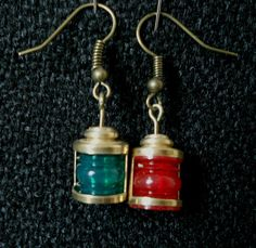 Steampunk Earrings Airship Navigation Lamps Brass by SteampunkRelics on Etsy