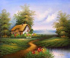 Art Oil Paintings Reproduction Bliss Canvas Famous Cottage Thomas
