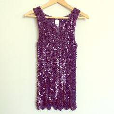 StageOne Purple Sequin Top NWT Gorgeous deep purple all sequin top by StageOne! Beautiful cutouts at the bottom. All sequin in place. Stretchy. Size L. Fits M best. Perfect for a night out! Stageone Tops Tank Tops