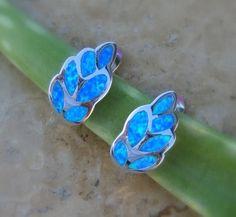 Fire Opal Earrings in Sterling Silver by AleaMariCo