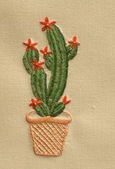 Cactus Alto<br>Hand Towel - In Stock Diy Embroidery Patterns, Cactus Embroidery, Hand Embroidery Projects, Embroidery On Clothes, Hand Embroidery Stitches, Cross Stitch Embroidery, Embroidered Towels, Needlework, Etsy