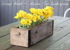 scrap wood mason jar centerpiece, crafts, mason jars, I love my new outdoor centerpiece It was so easy to make Great beginner woodworking project too