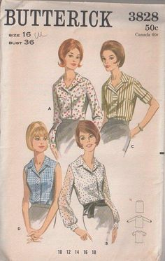 Butterick 3828 Vintage 60's Sewing Pattern LOVELY Classsic Button Band Collared Daytime Blouse & Top Set