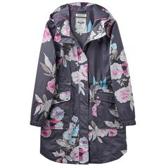 Women's Joules Raina Print Waterproof Parka (8.335 RUB) ❤ liked on Polyvore featuring outerwear, coats, hooded coat, joules coats, floral coat, peak coat and parka coat