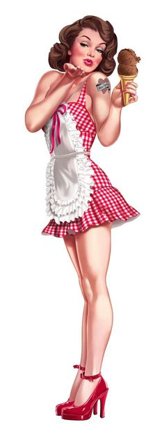 Brunette Pinup with Ice Cream, Apron and Red Shoes Blowing a Kiss