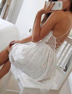 201ebe492dd2 AOOKSMERY Women White Summer V-Neck Spaghetti Straps Lace Knee-Length Backless  Dresses at