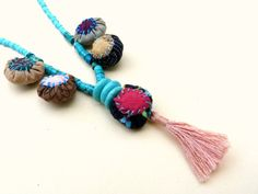Turquoise Handmade Necklace/Tutquoise Jewelry/Fiber by BudBeVud