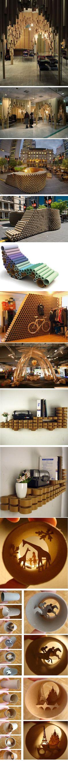 Cosas increíbles que se pueden hacer con tubos de cartón #recycling #design