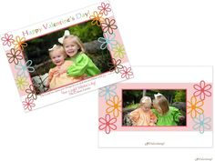 Sweet Flowery Happy Valentine's Day photo card printed with your photos on the front and on the back.   Invitations by Design