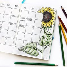 """2,527 Likes, 18 Comments - Laura (@bulletjournalers) on Instagram: """"Loving all these these sunflower spreads credit to @pen.paper.tape #bulletjournaljunkies…"""""""