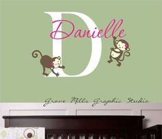 Monkey Wall Decal  Girls Name Wall Decal  by GroveMillsGraphics, $26.00