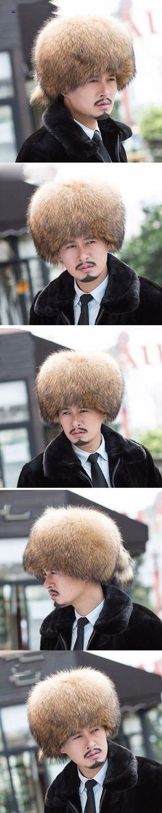 2017 New Skullies & Beanies Solid Natural Brown Color Cap Unisex Men Hat Winter Warm Real Raccoon Fur Russia Caps Women Headgear