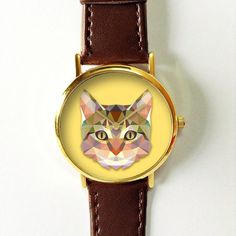 Geometric Cat Face Watch, Leather Watch, Womens Watch, Mens Watch, Vintage Style Watch, Cat Lovers, Gift, Polygonal, Unique, Personalized Freeforme Watches 2016 I also do custom or personalized watches , please contact me and Id be glad to make something special for you and your loved ones. *Images are owned by Freeforme Ships Worldwide Type: Quartz Wrist Size: Adjustable from 17 cm to 21 cm (6.69 inches to 8.26 inches) Display: Analog Dial Window Material: Glass Case Material: Metal Case…