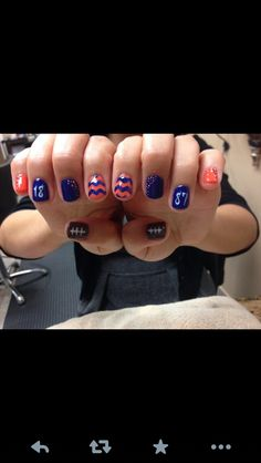 Instead of football on the thumb nail I would do the style of the pinky nails Denver Broncos Nails, Football Nails, Glam Nails, Fancy Nails, Pretty Nails, Toe Nail Art, Toe Nails, Acrylic Nails, Nails For Kids