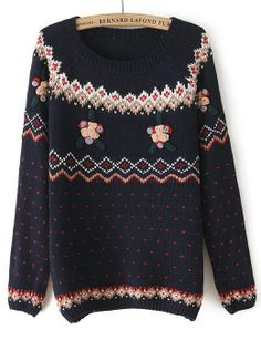 Navy Long Sleeve Embroidered Hearts Pattern Sweater US$34.10