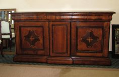 OLD-WORLD STYLE SOLID WOOD BUFFET WITH BEAUTIFUL WOOD INLAYS