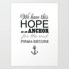 Anchor Hope Typography Art Art Print by rachaelcreative - $19.76