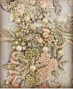 Embroidery Wedding Dress Haute Couture Fashion Details Ideas For 2019 Zardosi Embroidery, Hand Embroidery Dress, Embroidery Works, Couture Embroidery, Embroidery Fashion, Hand Embroidery Designs, Beaded Embroidery, Embroidery Stitches, Embroidery Patterns