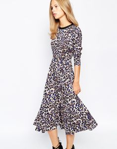 Image 1 of Lost Ink Animal Print Midi Dress