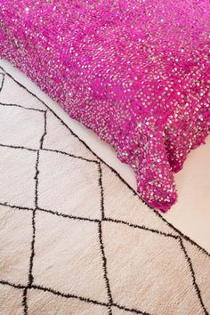 This hot pink Moroccan wedding blanket is so chic and an M.Montague exclusive design! Truly Moroccan decor at its most contemporary and glamorous. Just stunning. All wool and covered with shiny sequins.