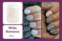 This clear wrap features an all-over white lace pattern. #bevsjamminnails https://bkimball.jamberry.com/us/en/shop/products/white-romance#.VtpQ9vkrJD8