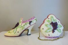 Collectible Miniature Shoe Coordinating Purse set Resin in shoe gift Diva Ankle Strap Shoes, Shoes Heels, Victorian Boots, Half Dolls, Green Gifts, Fabric Squares, Plum Color, Cotton Quilts, Leaf Design