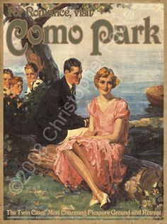 """Classic Saint Paul, Minnesota image of two """"love birds"""" enjoying a lakeside rendezvous. Charming text describes some of Como Park's early 1900′s attractions."""