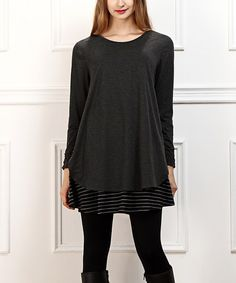 This Charcoal & Black Stripe Layered Tunic is perfect! #zulilyfinds