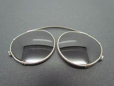 Vintage Clip On Sunglasses w/ Green Lenses Ornate Optical Aviator Silver Frames #AmericanOptical #Aviator