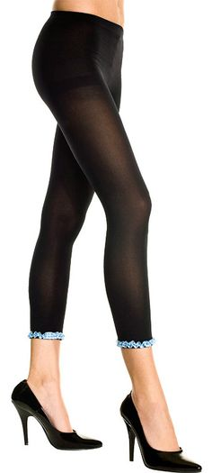 Music Legs 35739 Leggings Black capri with opaque texture, stirrup top which highlights your curves and chic ruffled blue satin ribbon on lower hem which adds a touch of colour. http://www.MightGet.com/january-2017-12/music-legs-35739-leggings.asp