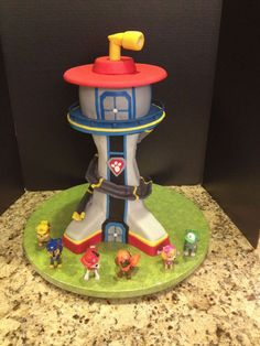 Paw patrol lookout tower, bottom is Rice Krispie treats, top is cake