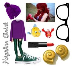 Hipster Ariel Costume by hollyanne-ellene-hoernig on Polyvore featuring Diane Von Furstenberg, Converse, Carolee, Coal and NARS Cosmetics