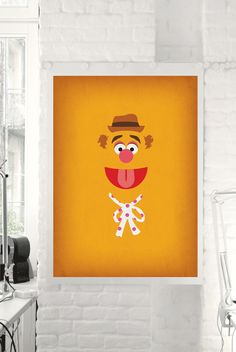 "The Muppets Show ""Fozzie Bear"" Minimalist Poster - Retro Style Print , Home Wall Muppet Babies Nursery Art"