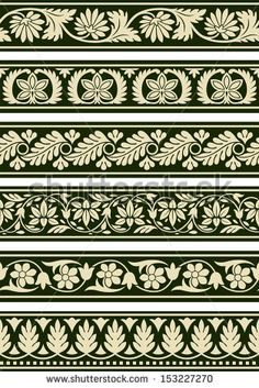 Buy Indian Floral Borders by pvg on GraphicRiver. A series of floral borders based on East Indian patterns. Border Pattern, Border Design, Pattern Art, Carving Designs, Stencil Designs, Border Embroidery Designs, Embroidery Patterns, Damask Decor, Indian Patterns
