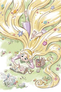 Rapunzel Sketching by Unknown