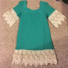 Turquoise lace dress Liner underneath, see through lace, worn once, perfect condition Umgee Dresses