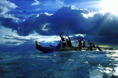 Hawaii, Ourigger canoe paddlers at sunset, rays of light break through dramatic sky, Outrigger Canoe, Aloha Hawaii, Hawaii Pics, Big Island Hawaii, Surfs, Hawaiian Islands, Kayaking, Canoeing, Pacific Ocean