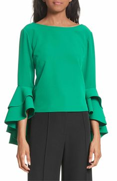 Main Image - Milly Annie Cascade Sleeve Stretch Cady Top
