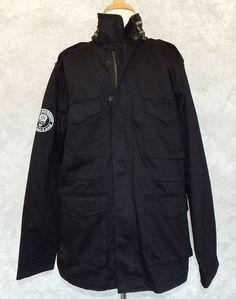 GUILTY BROTHERHOOD Men's Black Coat Jacket Military Style Winter Warm - Size L #GuiltyBrotherhood #BasicCoat