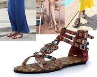 f0ec9660372 Summer Women Bohemian Style Zipper Flats Shoes Beading Casual Open Toe  Sandals Fashion Boots