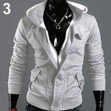 Homens Moda Casual Manga Comprida Magro Zipper Cardigan Com Capuz Hoodie Do Revestimento Do Revestimento(China (Mainland))