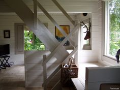 White stairs and window