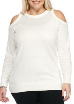 MICHAEL Michael Kors Ecru Plus Size Diamond Cold Shoulder Sweater