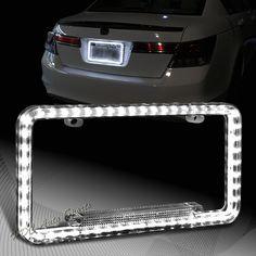 Universal 12v 54 White LED Lighting Acrylic Plastic License Plate Cover Frame