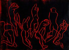 """Woodcut called """"Seven nights"""" Red Art, Neon Signs, Painting, Painting Art, Paintings, Painted Canvas, Drawings"""