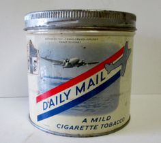 DAILY MAIL TOBACCO TIN Trans Canada Airlines Lockheed 14 MONTREAL CANADA Montreal Canada, Tins, Coffee Cans, Daily Mail, Vintage, Ebay, Tin Cans