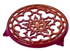LE CREUSET Enameled Cast-Iron Deluxe Round Trivet 9-Inch Cherry $59.95 BEST PRICE GUARANTEE FREE WORLD SHIPPING (LOCAL ORDER PICK UP IS ALSO AVAILABLE & GET 20% OFF)