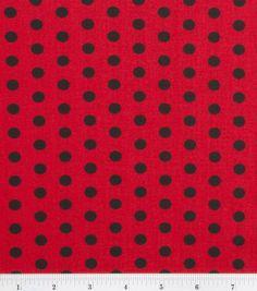 Keepsake Calico™ Cotton Fabric-Zest Dot Black On Red