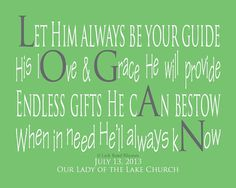 Baptism Gifts for Boys, 8x10 print, Gifts For Godson, Unique Christian Gifts, Logan